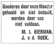 joodsommen  Advertentie M I  Bierman - J vd Hoek 4 oktober 1941 - kopie