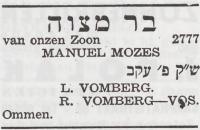 joodsommen  Manuel Mozes Vomberg - Bar-mitswa -familiebericht Joods Weekblad 08-08-1941